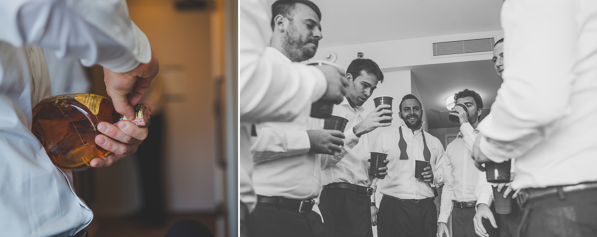 Downtown Toronto wedding, Toronto Wedding, Toronto Wedding Photographer, Downtown Toronto, Toronto Photographer, Berkeley Church, Berkeley Events, Berkeley fieldhouse, Groom, Groom getting ready, bowtie, cigar, groomsmen, drinking, groomsmen getting ready, alcohol, drinks, shots, whisky