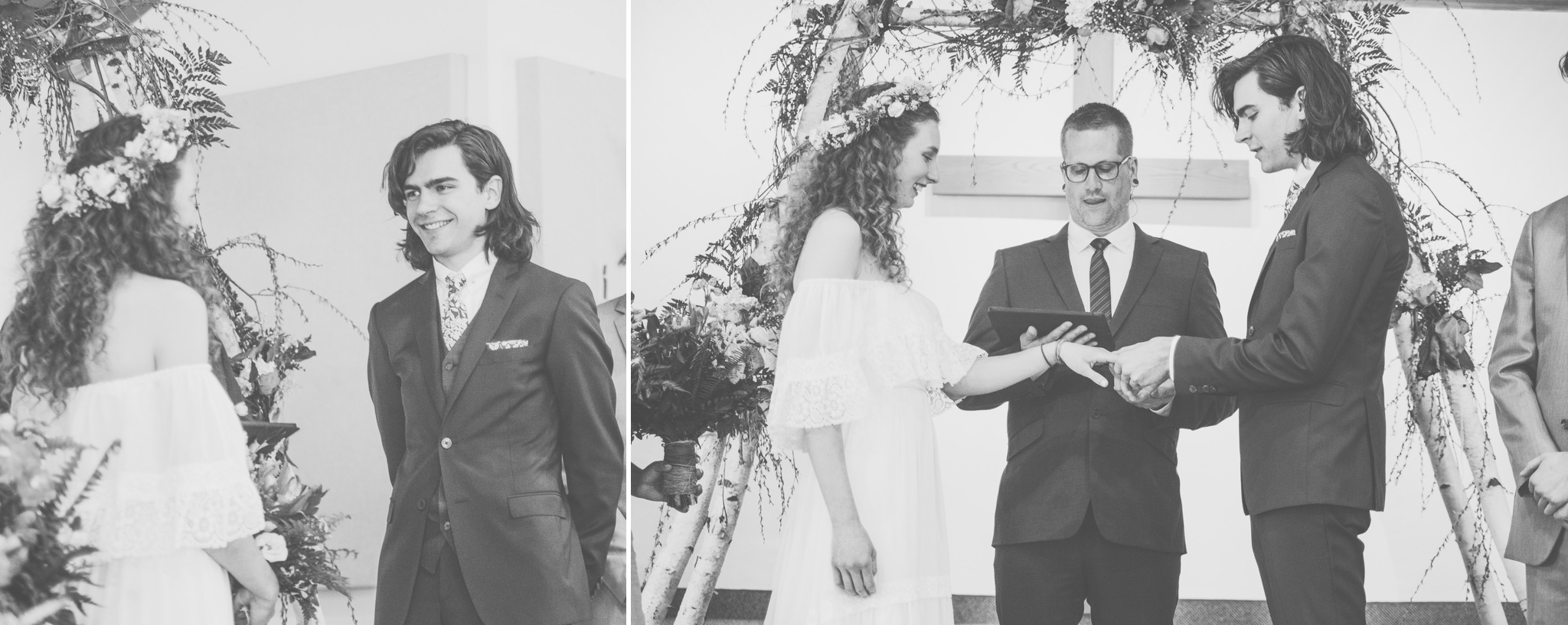 wedding, barrie wedding, barrie photographer, toronto photographer, barrie wedding photographer, toronto wedding photographer, jeannette breward photography, church, church wedding, waterfront, waterfront wedding, spring wedding, ontario wedding, couple, floral crown, religious ceremony, boho bride, boho wedding, bohemian wedding, floral crown, emotional, emotions, emotional wedding, black and white, ceremony, bridesmaids, wedding party, church, ceremony